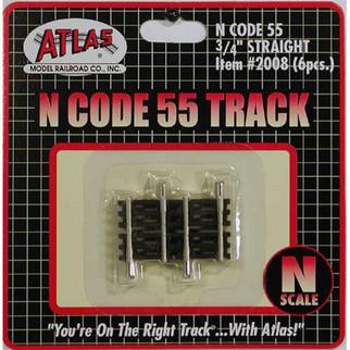 "2008 Atlas N Scale Code 55 Track .75"" Straight (6 pcs/pk)"