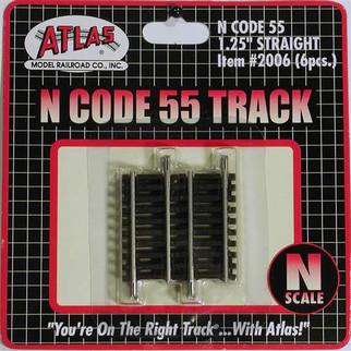 "2006 Atlas N Scale Code 55 Track 1.25"" Straight (6 pcs/pk)"