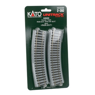 "2-260 Kato USA, Inc. HO 430mm 16-7/8"" Radius Curve 22.5-Degree (4)"