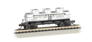 17155 N Scale Bachmann 3-Dome Tank Car-Carbide & Carbon Chemicals