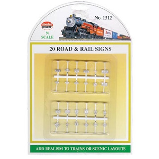 1312 N Scale Model Power 20 Road & Rail Signs