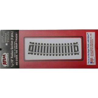 "0834 Atlas HO Nickel Silver Code 100 1/2 18"" Radius Track (4 pcs./pk)"
