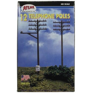 0775 Atlas HO Telephone Poles-12/Set
