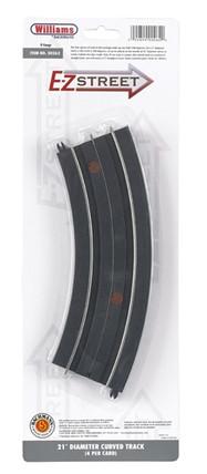 "00262 O Williams by Bachmann E-Z Street 21"" Diameter Curved Track (4) per Card"