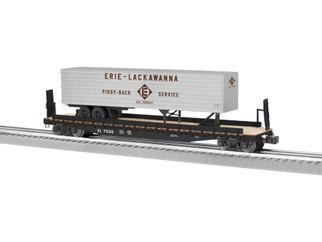 6-82841 O Scale Lionel Erie Lackawanna PS-4 Flat w/40' Trailer