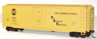 5127 HO Scale Accurail 50' Plug Door Riveted-Side Boxcar Kit-Norfolk & Western/Fruit Growers Express