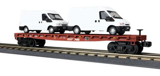 30-76675 O Scale MTH RailKing Flat Car w/(2) Ford Transit Vans-Norfolk Southern