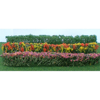 """95510 HO Scale Flower Hedges 5"""" X 3/8"""" X 5/8"""" Red, Pink, Yellow, Purple 8/pk"""