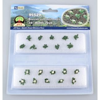 95529 HO Scale JTT Scenery Broccoli and Cauliflowers Green and White 20/pk