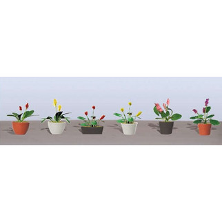 95569 HO Scale JTT Scenery Assorted Potted Flower Plants 3 6/pk