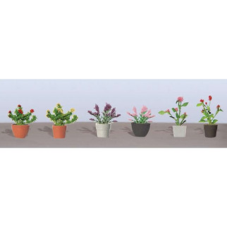 95566 O Scale JTT Scenery Assorted Potted Flower Plants 1, 6/pk