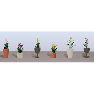 95572 O Scale JTT Scenery Assorted Potted Plants 4, 6/pk