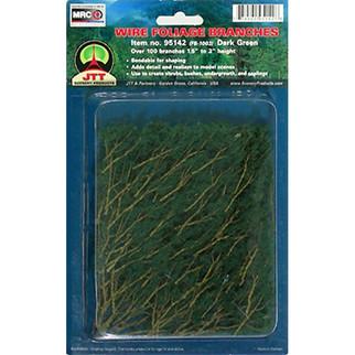 "95520 JTT Scenery Wire Foliage Branches Dark Green 1.5"" - 3"" High 60/pk"