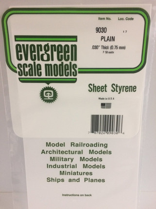 "9030 Evergreen Sheet Styrene White Plain .030"" Thick"