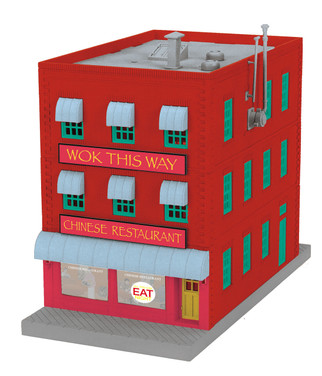 30-90540 O Scale MTH RailKing 3-Story City Building w/Fire Escape and Blinking Sign-WOK This Way Chinese Restaurant