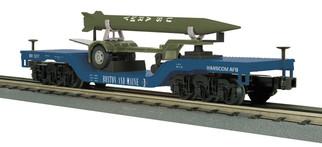30-76698 O Scale MTH RailKing Depressed Center Flat Car w/Rocket Load-Bostn & Maine