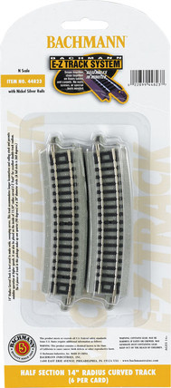 """44823 N Scale Bachmann Half Section 14"""" Radius Curved Track(6)"""