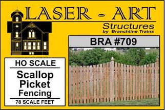 709 HO Scale Branchline Laser-Art Scallop Picket Fencing(For Model Train Layout)