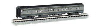 14253 N Scale Bachmann 85' Smooth Sided Coach w/Lighted Interior-B&O