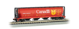 19181 N Scale Bachmann Canadian 4 Bay Cylindrical Grain Hopper-Canada Grain