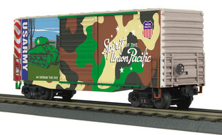 30-74928 O Scale MTH RailKing 40' High Cube Box Car-Union Pacific(Army Spirit of Union Pacific)