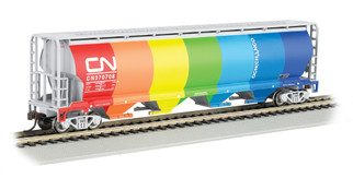 19133 HO Scale Bachmann Canadian National Demonstrator 4-Bay Cylindrical Grain Hopper