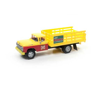 30499 HO Scale Classic Metal Works 1960 Stakebed Ford Truck-Yellow/Yellow & Red Cab