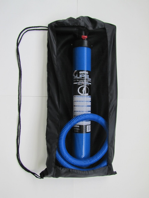 Pump is complete with gauge, hose, and carry bag.
