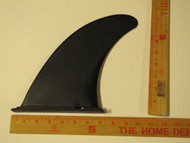 Wahoo fin slides in track and locks when board is inflated.  Half moon at end of fin box locks fin in place.