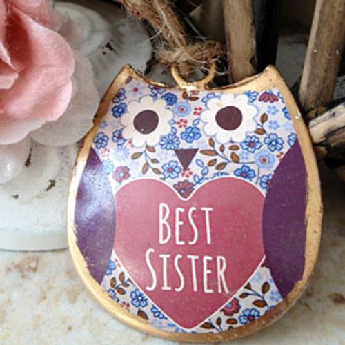 Violet Mini Best Sister Hanging Owl
