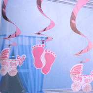 5 Baby Girl Swirl Decorations (60cm long)