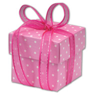 Pink Polkadot Square Favour Box With Lid (DIY)