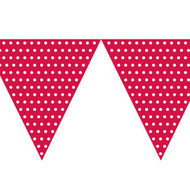 Polka Dot Bunting Flag Red (9ft Long)