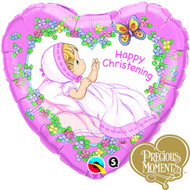 Precious Moments Christening Girl Heart Foil Balloon (18in)