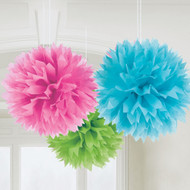 Multi-Coloured Fluffly Pom Pom Decorations (3)