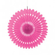 Paper Bright Pink Hanging Fan Decoration (1)