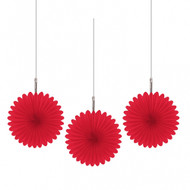 Mini Red Hanging Fan Decorations (5)