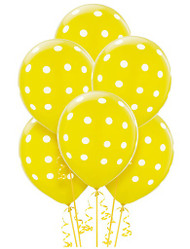 Yellow Big Dots Latex Balloons (6)