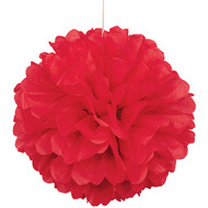 Paper Puff Ball Decoration In Red (1)