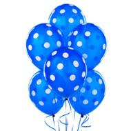Navy Blue Big Dots Latex Balloons (6)