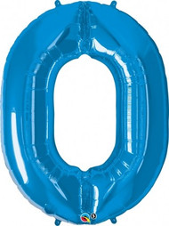 Number 0 Foil Balloon Blue
