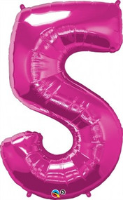 Number 5 Foil Balloon Pink
