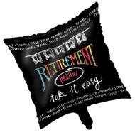 "Retirement Chalk 18"" Square Metallic Foil Balloon"