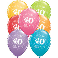 40th Birthday Assorted Latex Balloons (6)