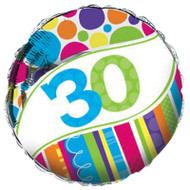 Bright And Bold 30th Foil Balloon (18 Inch)