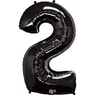 Number 2 Foil Balloon Black