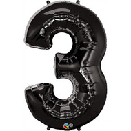 Number 3 Foil Balloon Black