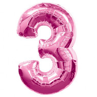 Number 3 Foil Balloon Pink