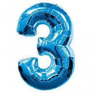 Number 3 Foil Balloon Blue