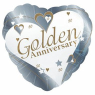 50th Anniversary Heart-Shaped Foil Balloon (18 Inch)